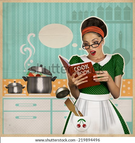 young beautiful woman cooks in the kitchen.Retro style collage on old paper - Shutterstock ID 219894496