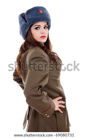 stock photo : young beautiful woman, dressed as russian military