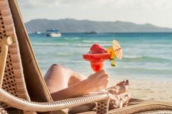 young beautiful woman enjoying summer vacation, beach relax, summer in tropics