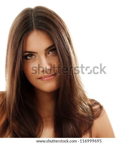 young beautiful woman, female face closeup, isolated on white background