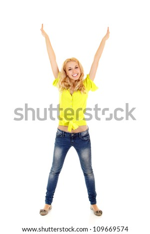 Young beautiful woman, full length portrait. Isolated on white background