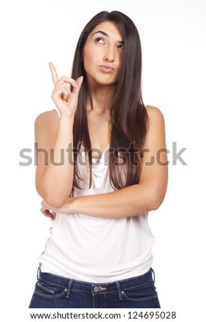 young beautiful woman having an idea