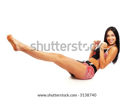 Young beautiful woman in fitness. Isolated over white background
