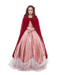 Young beautiful woman in long medieval dress and red cloak isolated on white