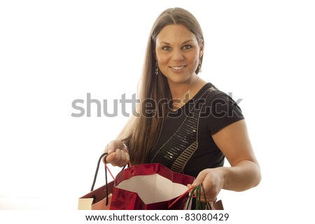 young beautiful woman loves shopping