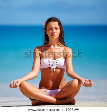 Beautiful woman exotic sea side images
