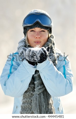 young beautiful woman outdoor in winter