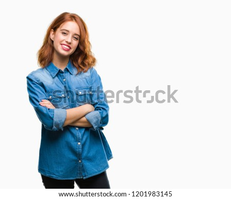 Young beautiful woman over isolated background happy face smiling with crossed arms looking at the camera. Positive person. #1201983145