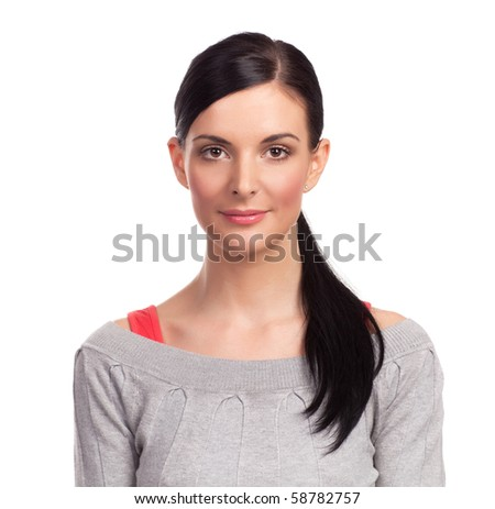 Young beautiful woman posing at white background