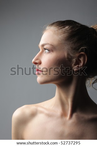 young beautiful woman profile portrait