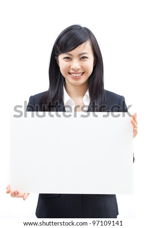Young beautiful woman showing billboard, isolated on white background