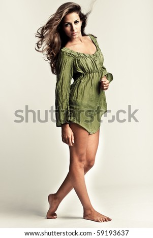 young beautiful woman studio shot