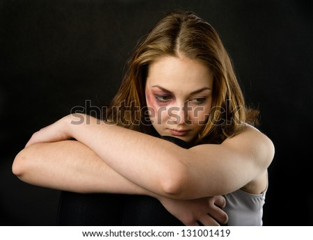 Young beautiful woman suffering from a severe depression