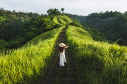 Young beautiful woman walking on Campuhan Ridge way of artists, in Bali, Ubud. Beautiful calm sunny morning