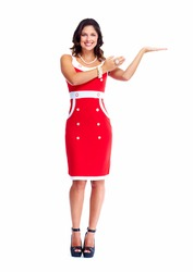 Young beautiful woman wearing red dress. Isolated over white background.