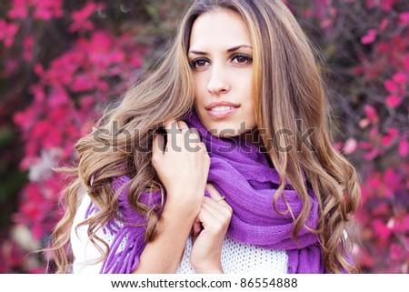Young beautiful woman wearing winter clothing