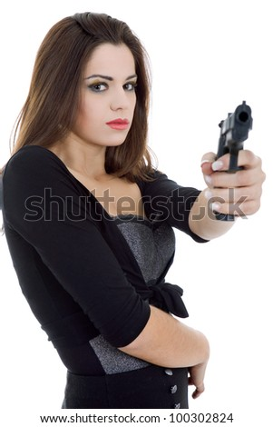 young beautiful woman with a gun, isolated