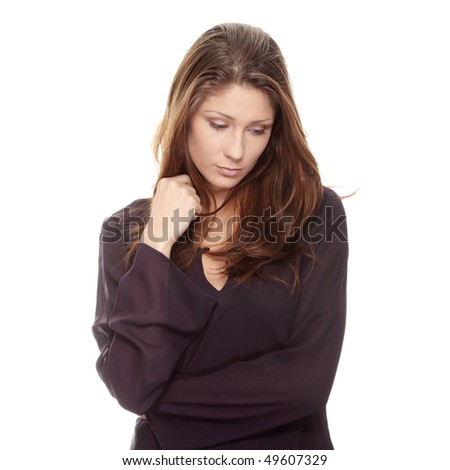 Young beautiful woman with depression, isolated