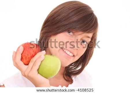 young beautiful woman with fresh apples isolated on white