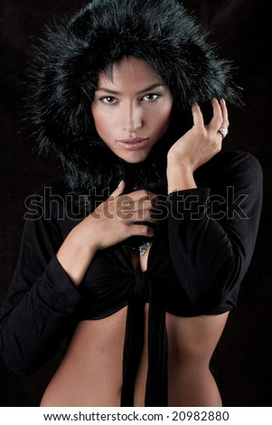 young beautiful woman with fur hood
