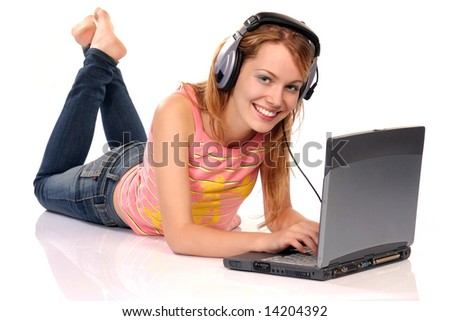 Young beautiful woman with laptop and headphones, isolated on white