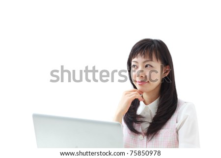 Young beautiful woman with laptop computer