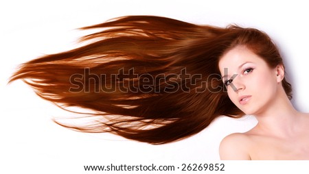 young beautiful woman with long brown hair