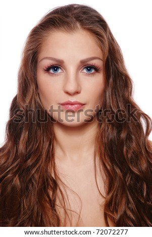 Young beautiful woman with long curly hair, on white background