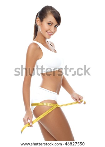 Young beautiful woman with measure tape on white