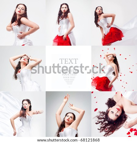 young beautiful woman with petals of roses