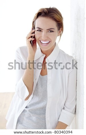 young beautiful woman with phone