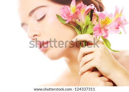 young beautiful woman with pink flowers