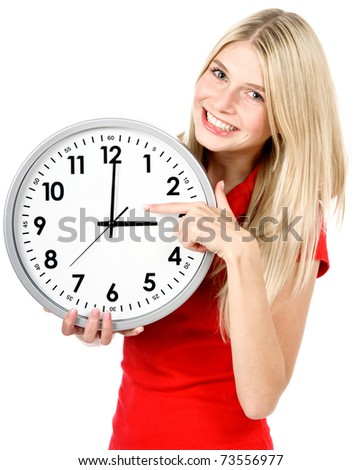 Young beautiful woman with the clock isolated in white. time management concept