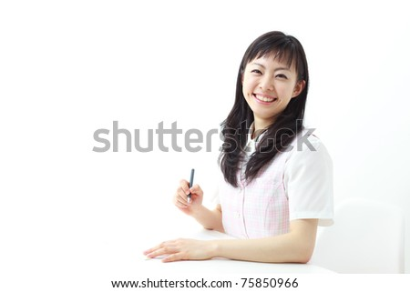 young beautiful woman working in office - stock photo