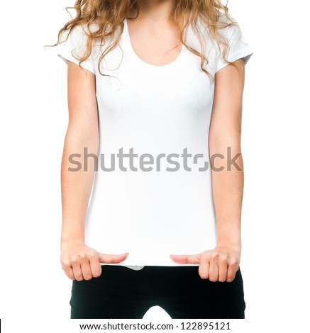 Young beautiful women posing with blank white t-shirts