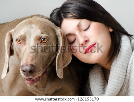 Young beautiful  women with dog