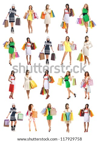 Young beautiful women with some shopping bags isolated on white