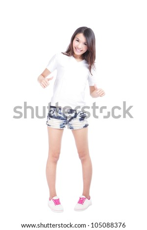 Young beauty girl show blank white T-shirt in full length, empty copy space in the image is ready for your design or logo, model is a asian woman