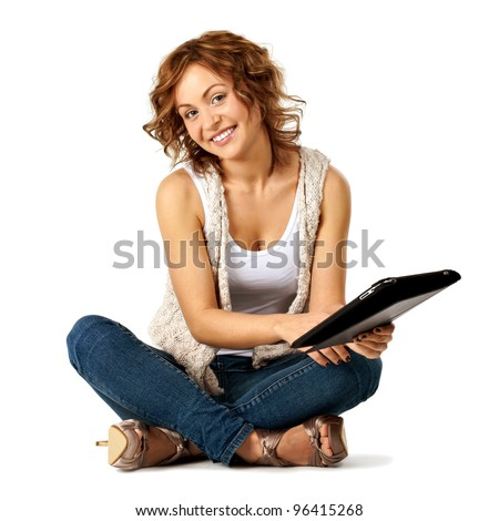 Young beauty student girl with tablet