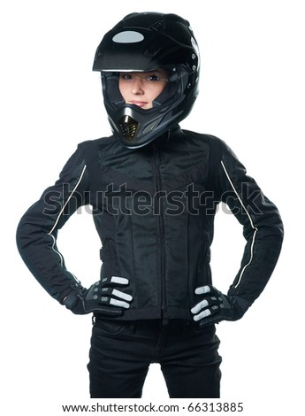Young beauty woman posing in black motorcycle clothing and helmet. Isolated on white background.