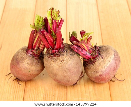 Young beets on wooden table close-up