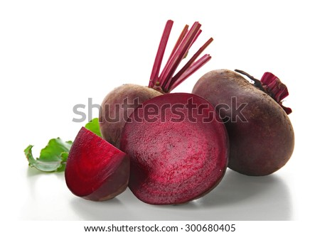 Young beets with leaf isolated on white