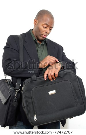young black business man looking checking time white isolated