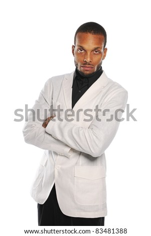 Young Black Businessman wearing a white jacket isolated on a white background