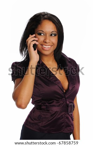 Young Black Businesswoman on the cell phone smiling and isolated on a white background