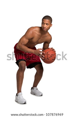 Young Black College Student Holding Basket Ball Isolated on White Background - stock photo