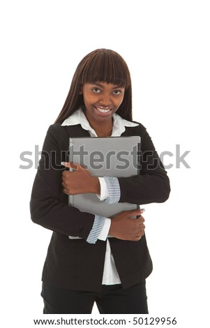 Young black female law student with arm folded over laptop portrait