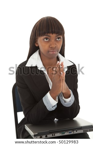 Young black female with laptop praying for help