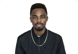Young black guy with a straight face portrait