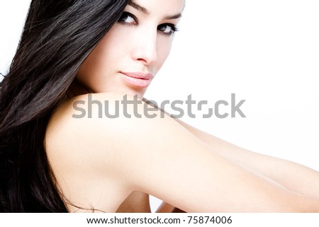 young black hair woman beauty portrait, studio shot
